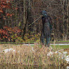 The Indian by Jennifer Hawk - Buildings & Architecture Statues & Monuments ( statue, nature, indian, monument, pond,  )