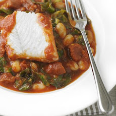 White Fish With Spicy Beans And Chorizo