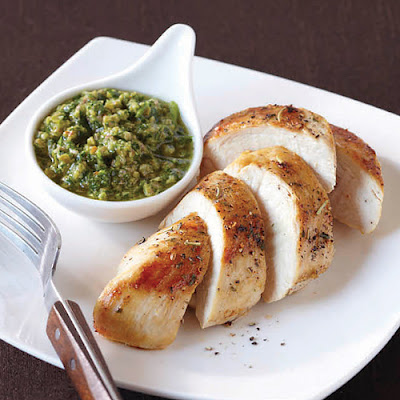 Chicken Breasts with Green Olive Chimichurri