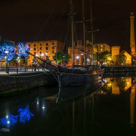 Peaceful by Marek Saj - City,  Street & Park  City Parks ( water, lights, reflection, harbor, liverpool, night, cityscape, boat, chimney, dock, city, , device, transportation, Lighting, moods, mood lighting )