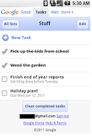 Screenshot of Google ToDo List