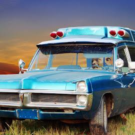 Senior's Car by Joerg Schlagheck - Digital Art Things ( car, danger, lawn, gallum, ambulance, zombie, truck, fridge, crazy, automobile, blue., momma,  )