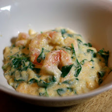 Dinner Tonight: Shrimp and Grits with Arugula
