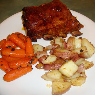Easy Baby Back Ribs, Honey Roasted Red Potatoes and Lemon Glazed Carrots