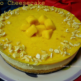Mango Cheesecake (No-Bake,Eggless)