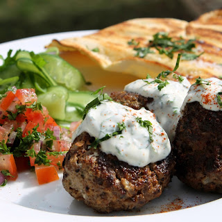 Lebanese Style Meatballs Recipe With Grilled Flatbreads And Yoghurt Dressing