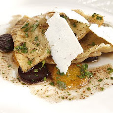 Beet Green Pierogi with Mixed Summer Beets, Brown Butter Sauce, and Ricotta Salata