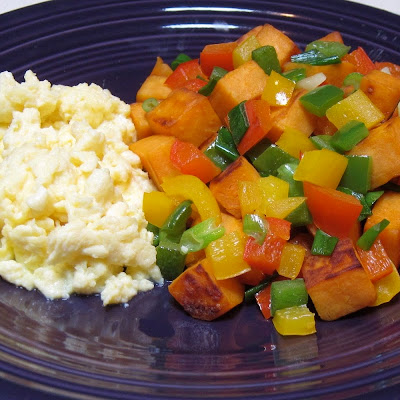 Scrambled Eggs with Sweet Potato Hash
