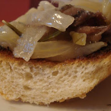 Slow-Cooked Garlic and Onions With Toasted Baguette