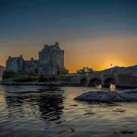 Eilean Donan Castle by Jim Keating - Landscapes Waterscapes ( scotland, sunset, castle, seascape, loch )