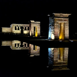 nightly reflections at Debod Temple in Madrid by Rino Calori - City,  Street & Park  City Parks ( temple, debod, madrid, reflections, night, spain )