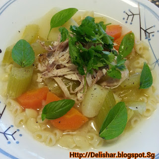 Chicken Macaroni Soup with Lemongrass and Ginger