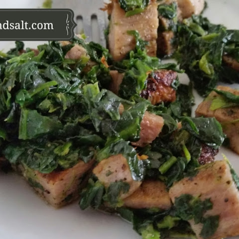Pork Chop and Spinach Hash