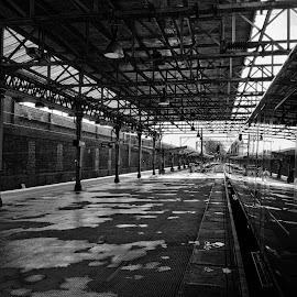 Crewe Station by Jean-Paul Srivalsan - Transportation Trains ( blackandwhite, platform, train station, b&w, black and white, transportation, architecture )