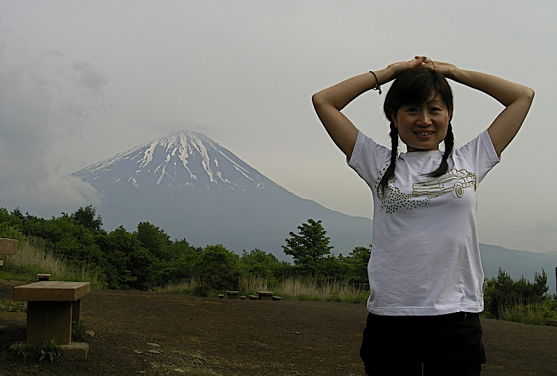 Aya before Mt. Fuji from the 3rd peak of Ashiwadayama