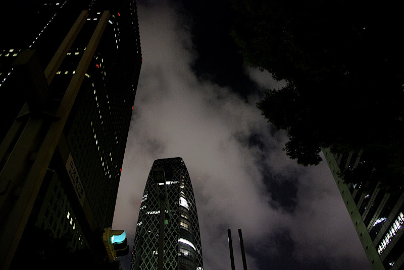 Shinjuku's newest skyscraper at night