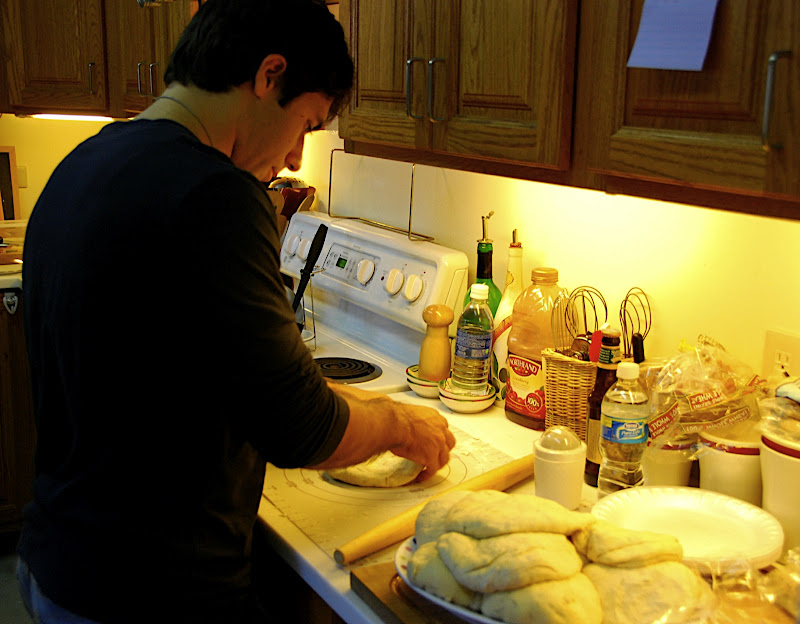 It was a make-your-own-pizza party, Jei making his here