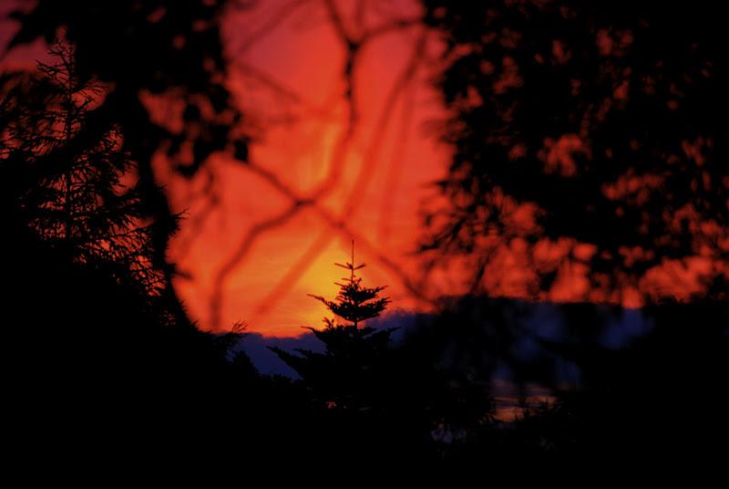 Orange fire dusk sky in Nagano