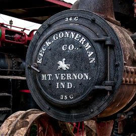 Steam Engine by Jackie Stoner - Transportation Other ( steam engine, red and black, vintage, farm equipment, mt vernon indiana, antique, keck gonnerman co )