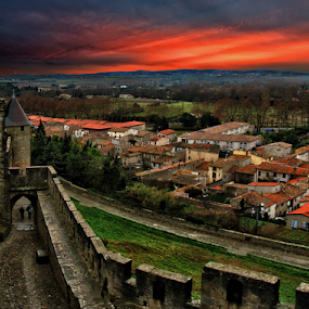 Carcassone fortress by Anton Donev - Buildings & Architecture Public & Historical ( carcassonne, old, europe, famous place, roussillon, stone, dramatic sky, architecture, travel, languedoc-rousillon, french riviera, aude, city, traditional culture, gothic style, ancient, sky, after rain, france, travel destinations, protection, hdr, scenics, art, tourism, fort, landscaped, dusk, mediterranean countries, history, indigenous culture, tower, sunset, cloud, south, town, built structure, antique, medieval, wall )