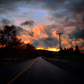 Sky's on fire by Joe Thola - Instagram & Mobile iPhone ( #libertylakewa #washingtonstate #fallcolors #clouds #firesky )