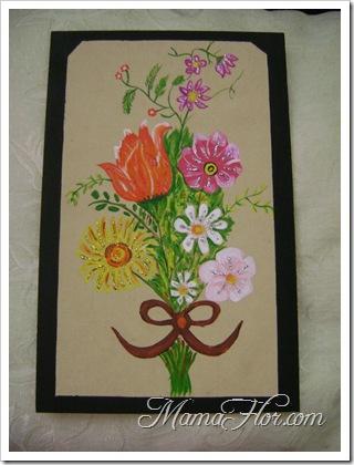 Pintura en madera : Ramo de flores