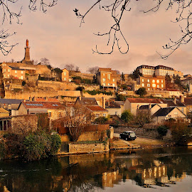 town mirror by Dobrin Anca - Buildings & Architecture Homes ( mirror, water, france, day, town,  )