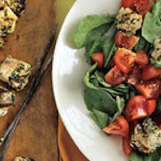 Swordfish Kebabs with Tomato-Arugula Salad