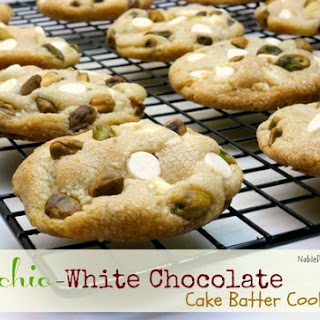 Pistachio-White Chocolate Cake Batter Cookies