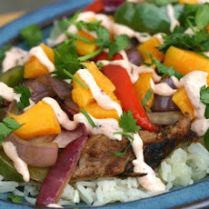 Mango Pork Fajitas With Chipotle Sour Cream