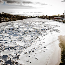 Iced Genesee by Enrique Santana Carballo - City,  Street & Park  Skylines ( winter, hdr, iced river, genesee, rochester )