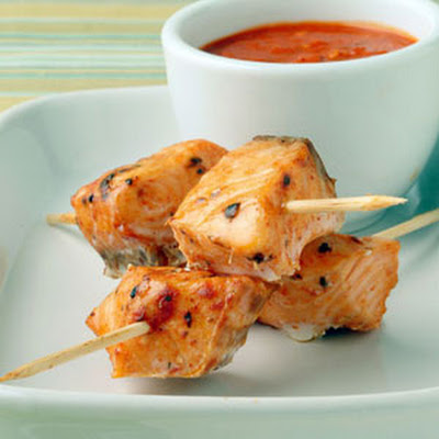 Salmon Skewers with Romesco Sauce