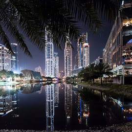 as the night falls by Sanjoy Sengupta - City,  Street & Park  City Parks ( nikon d700, night shots, dubai, nikon 14-24mm, long exposure, media city )