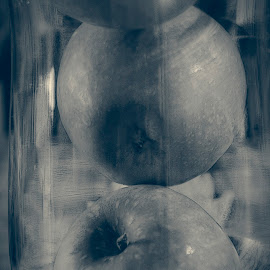 Apples in Glass by David Stone - Food & Drink Fruits & Vegetables ( fruit, monochrome, still life, glass, apples )