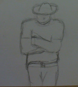 A bad drawing of a man in a hat, leaning against a white background.