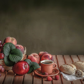 Healthy by Margareth Perfoncio - Artistic Objects Still Life ( grapes, bread, apple, strawberry )