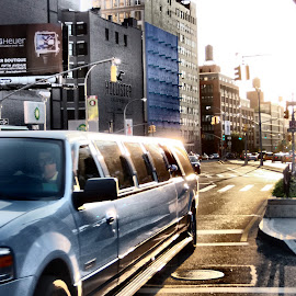 Limo by Darren Harrison - City,  Street & Park  Street Scenes ( limo, traffic, sunset, street, new york city )