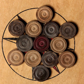Ok..the board is ready..who all are playing?! by Anoop Namboothiri - Artistic Objects Toys ( carom board, top view, play, anoop namboothiri, educational, round, carom coins, game, carom, wooden board,  )