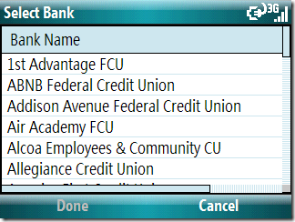 Select from a long list of supported banks