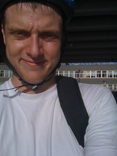 Joel sweating in the sun