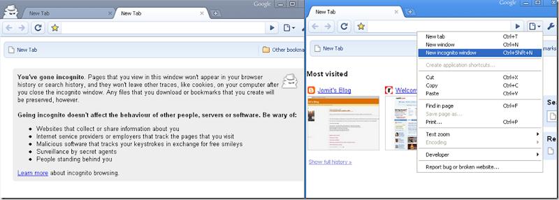 Google Crome incognito window