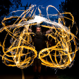 Grand Wizard by Fran Watson - Abstract Light Painting ( fire poi, poi, light painting, grand, wizard, long exposure, fire )