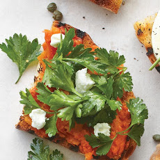 Charred Carrot Bruschetta with Goat Cheese and Parsley