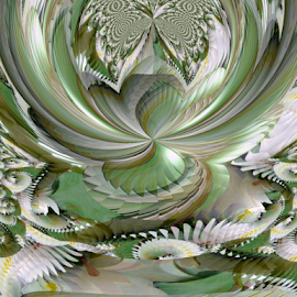 FWLK 4 by Tina Dare - Digital Art Abstract ( abstract, greens, patterns, designs, distorted, curves, shapes )