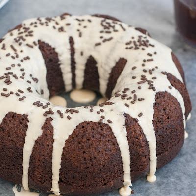 Chocolate Whiskey Bundt Cake with Coffee Glaze