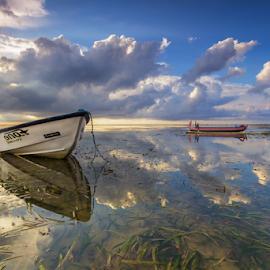 Reflextation by Budi Astawa - Transportation Boats ( bali, reflection, sanur, morning, boat )