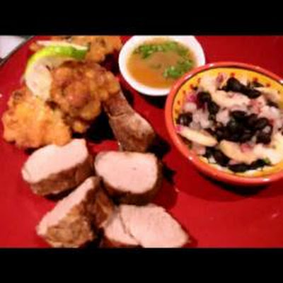 Pork Fillet With Corn Fritters, Blackbean And Banana Salsa