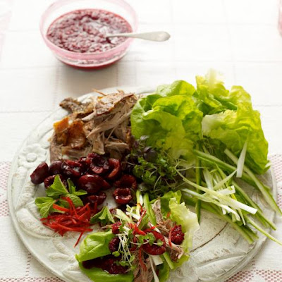 DIY crispy duck lettuce cups with cherries & mint