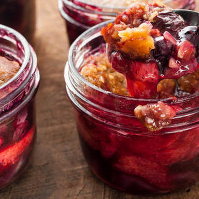 Strawberry-Blueberry Crisp Baked in a Jar