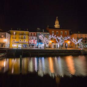 Ascona by night by Sabina Lombardo-Salmina - City,  Street & Park  Night (  )
